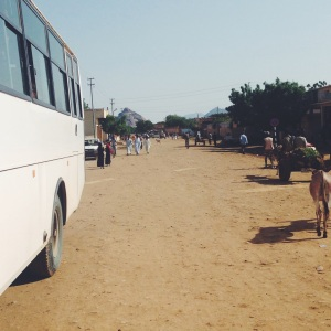 A street view of parked tour bus in Tessenei, Eritrea on July 28, 2014.